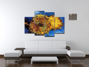 Two Cut Sunflowers 3 by Van Gogh 4 Split Panel Canvas - Canvas Art Rocks - 3
