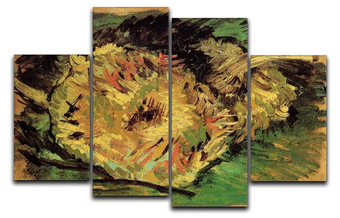 Two Cut Sunflowers by Van Gogh 4 Split Panel Canvas