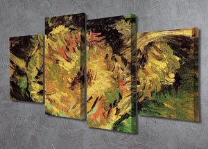Two Cut Sunflowers by Van Gogh 4 Split Panel Canvas - Canvas Art Rocks - 2