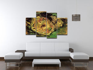 Two Cut Sunflowers by Van Gogh 4 Split Panel Canvas - Canvas Art Rocks - 3