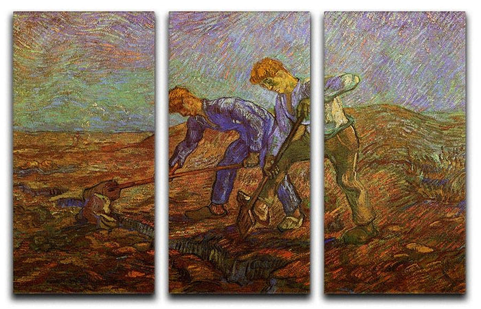 Two Peasants Digging by Van Gogh 3 Split Panel Canvas Print