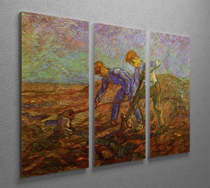 Two Peasants Digging by Van Gogh 3 Split Panel Canvas Print - Canvas Art Rocks - 4