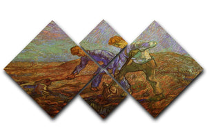 Two Peasants Digging by Van Gogh 4 Square Multi Panel Canvas  - Canvas Art Rocks - 1