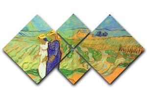 Two Women Crossing the Fields by Van Gogh 4 Square Multi Panel Canvas  - Canvas Art Rocks - 1