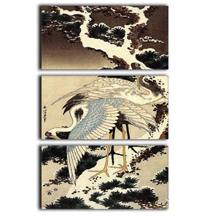 Two cranes on a pine covered with snow by Hokusai 3 Split Panel Canvas Print - Canvas Art Rocks - 1