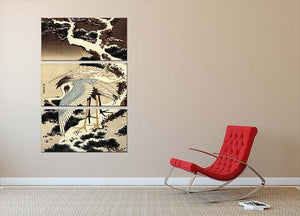 Two cranes on a pine covered with snow by Hokusai 3 Split Panel Canvas Print - Canvas Art Rocks - 2