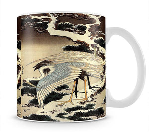 Two cranes on a pine covered with snow by Hokusai Mug - Canvas Art Rocks - 1
