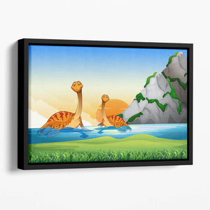 Two dinosaurs in the lake Floating Framed Canvas