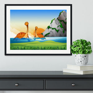 Two dinosaurs in the lake Framed Print - Canvas Art Rocks - 1