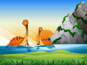 Two dinosaurs in the lake Wall Mural Wallpaper - Canvas Art Rocks - 1