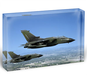 Two green fighter jets Acrylic Block - Canvas Art Rocks - 1