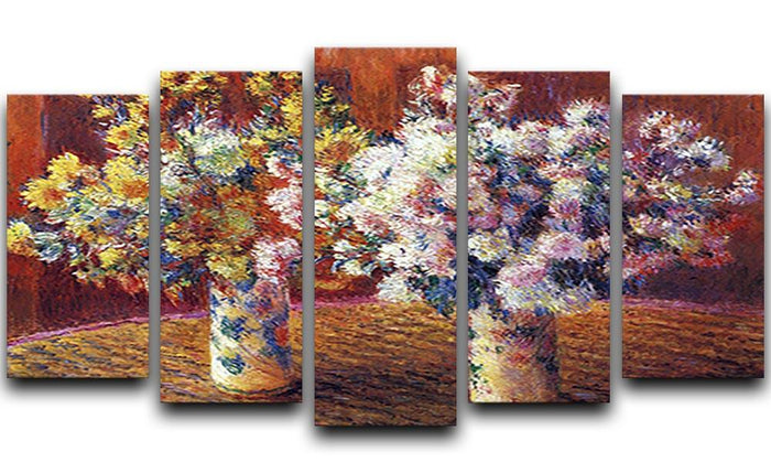 Two vases with Chrysanthemums by Monet 5 Split Panel Canvas