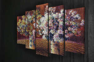Two vases with Chrysanthemums by Monet 5 Split Panel Canvas - Canvas Art Rocks - 2