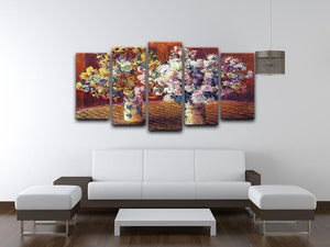 Two vases with Chrysanthemums by Monet 5 Split Panel Canvas - Canvas Art Rocks - 3