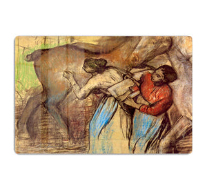 Two women washing horses by Degas HD Metal Print - Canvas Art Rocks - 1
