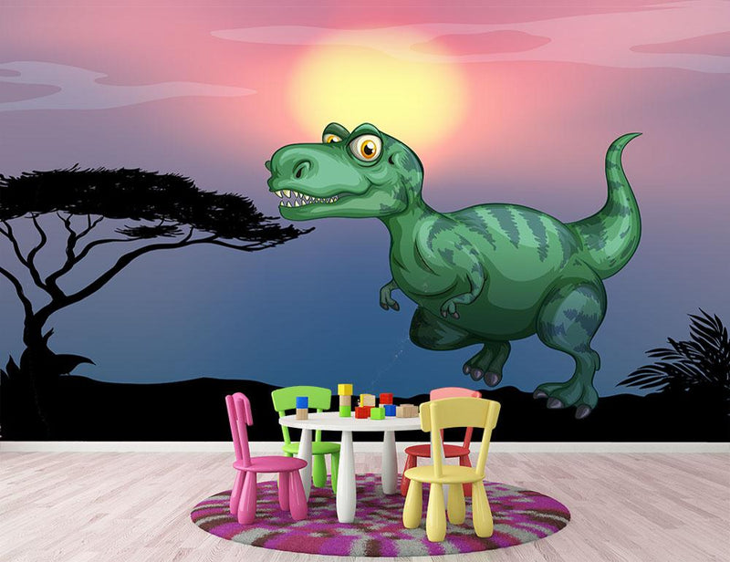 Tyrannosaurus rex in the field Wall Mural Wallpaper - Canvas Art Rocks - 1
