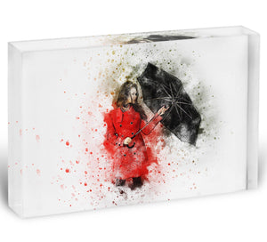 Umbrella Girl Painting Acrylic Block - Canvas Art Rocks - 1