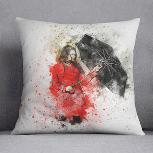Umbrella Girl Painting Cushion