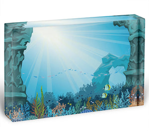Underwater arch on a blue sea Acrylic Block - Canvas Art Rocks - 1