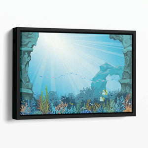 Underwater arch on a blue sea Floating Framed Canvas