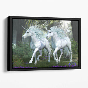 Unicorn Elm Forest Floating Framed Canvas