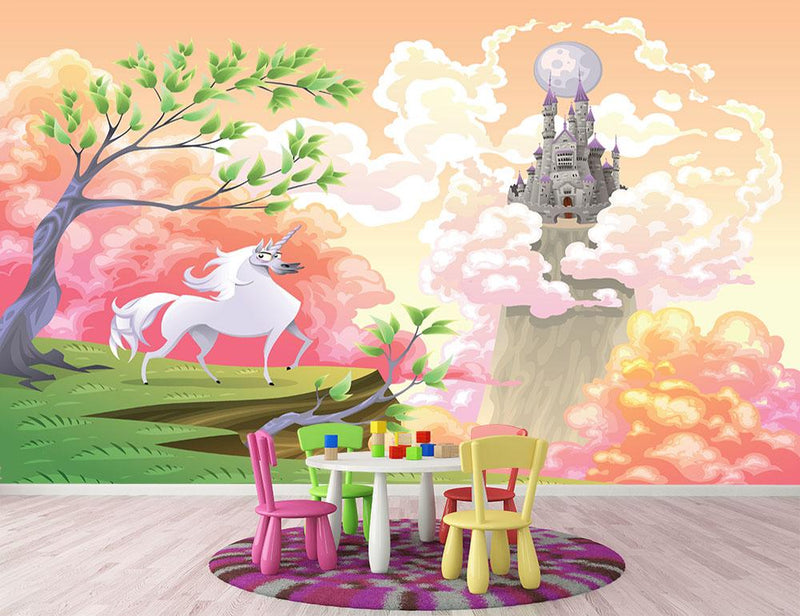 Unicorn and mythological landscape Wall Mural Wallpaper - Canvas Art Rocks - 1