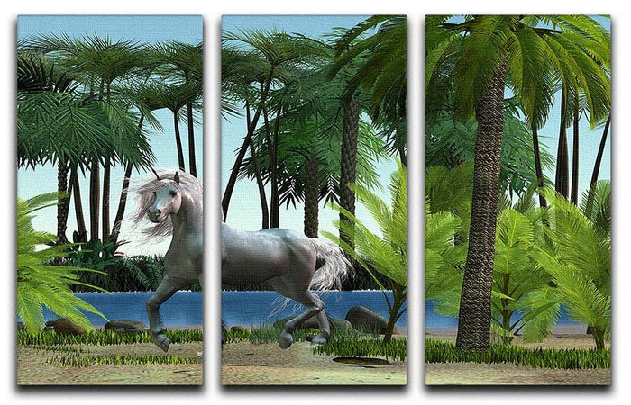 Unicorn buck prances 3 Split Panel Canvas Print