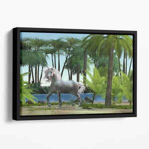 Unicorn buck prances Floating Framed Canvas