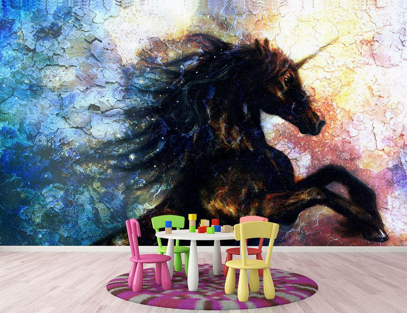Unicorn dancing Wall Mural Wallpaper - Canvas Art Rocks - 1