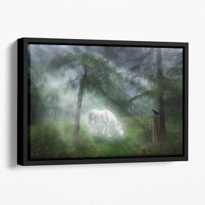 Unicorn in a magical forest Floating Framed Canvas