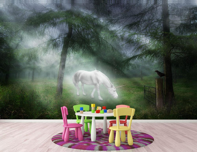 Unicorn in a magical forest Wall Mural Wallpaper - Canvas Art Rocks - 1