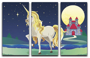 Unicorn outside of a castle 3 Split Panel Canvas Print - Canvas Art Rocks - 1