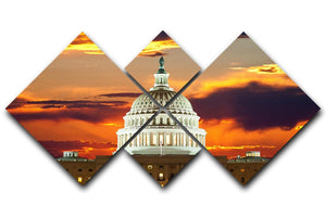 United States Capitol Building 4 Square Multi Panel Canvas  - Canvas Art Rocks - 1