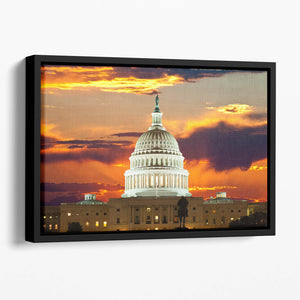United States Capitol Building Floating Framed Canvas