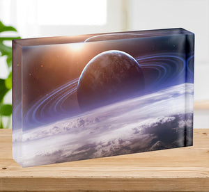Universe scene with planets Acrylic Block - Canvas Art Rocks - 2