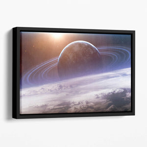 Universe scene with planets Floating Framed Canvas