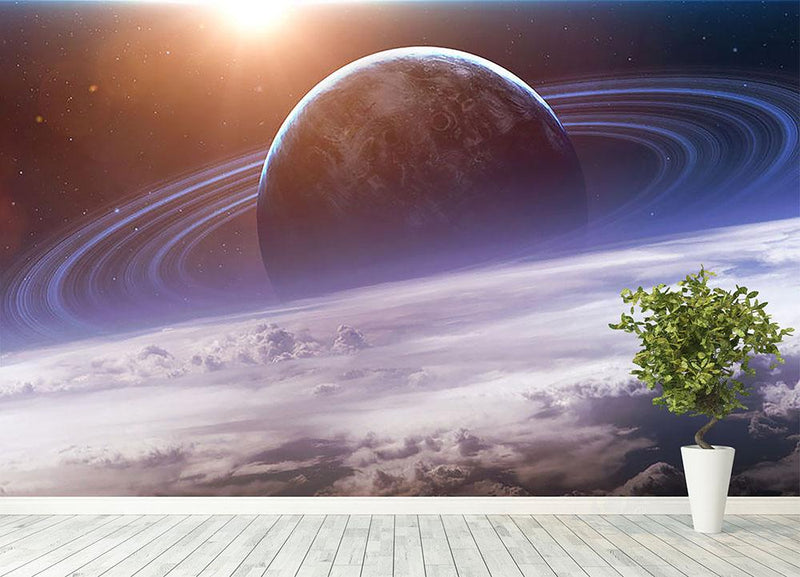 Universe scene with planets Wall Mural Wallpaper - Canvas Art Rocks - 4