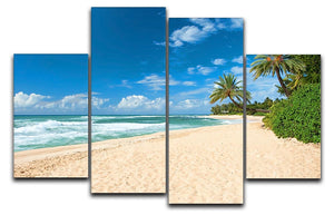 Untouched sandy beach with palms trees 4 Split Panel Canvas - Canvas Art Rocks - 1