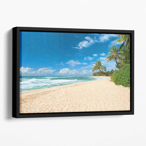 Untouched sandy beach with palms trees Floating Framed Canvas