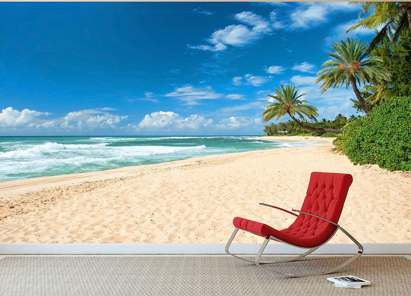 Untouched sandy beach with palms trees Wall Mural Wallpaper - Canvas Art Rocks - 1