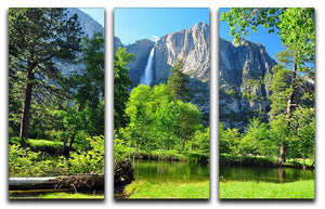 Upper Yosemite Falls 3 Split Panel Canvas Print - Canvas Art Rocks - 1