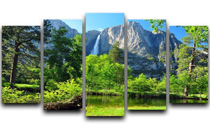 Upper Yosemite Falls 5 Split Panel Canvas  - Canvas Art Rocks - 1