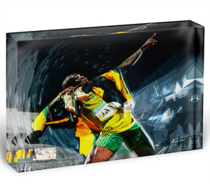 Usian Bolt Iconic Pose Acrylic Block - Canvas Art Rocks - 1
