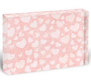 Valentine Heart pink Acrylic Block - Canvas Art Rocks - 1