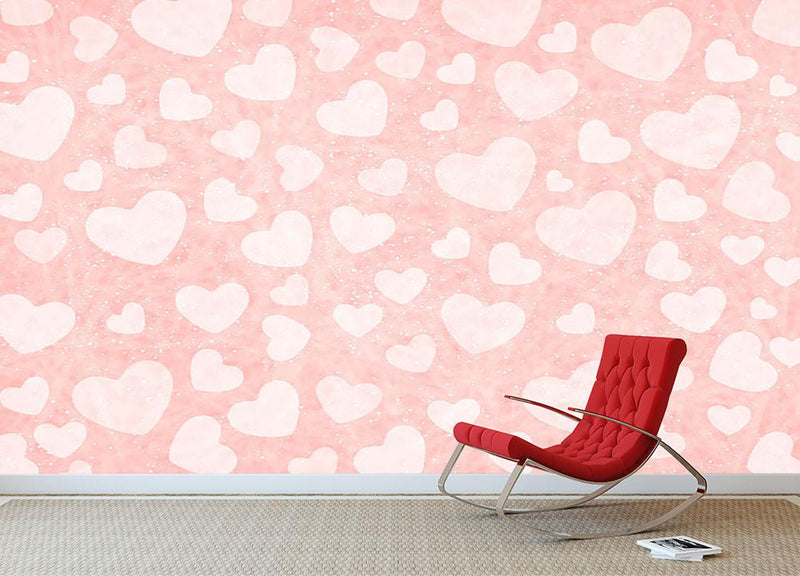 Valentine Heart pink Wall Mural Wallpaper - Canvas Art Rocks - 1