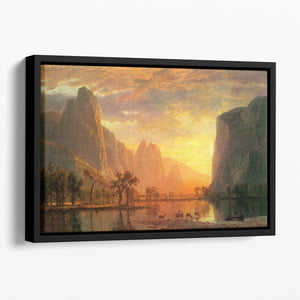 Valley in Yosemite by Bierstadt Floating Framed Canvas - Canvas Art Rocks - 1