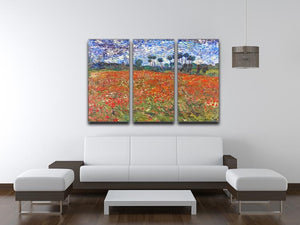 Van Gogh Poppies Field 3 Split Panel Canvas Print - Canvas Art Rocks - 3
