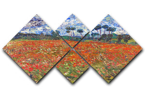 Van Gogh Poppies Field 4 Square Multi Panel Canvas  - Canvas Art Rocks - 1
