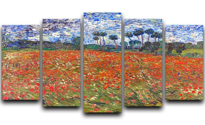 Van Gogh Poppies Field 5 Split Panel Canvas