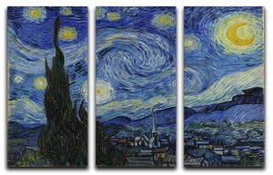 Van Gogh Starry Night 3 Split Panel Canvas Print - Canvas Art Rocks - 1